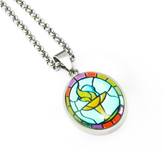 Silver Necklace Glass Pendant UU Chalice Jewelry, Faux Stained Glass Rainbow Chalice Pendant, Oval, 25mm X 18mm