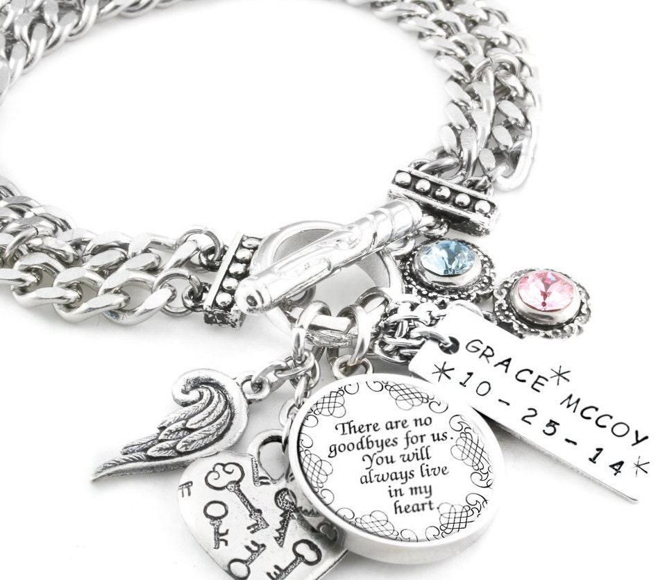 Memory Charm Bracelets: Silver Memorial Jewelry Personalized Memory Memorial Quote