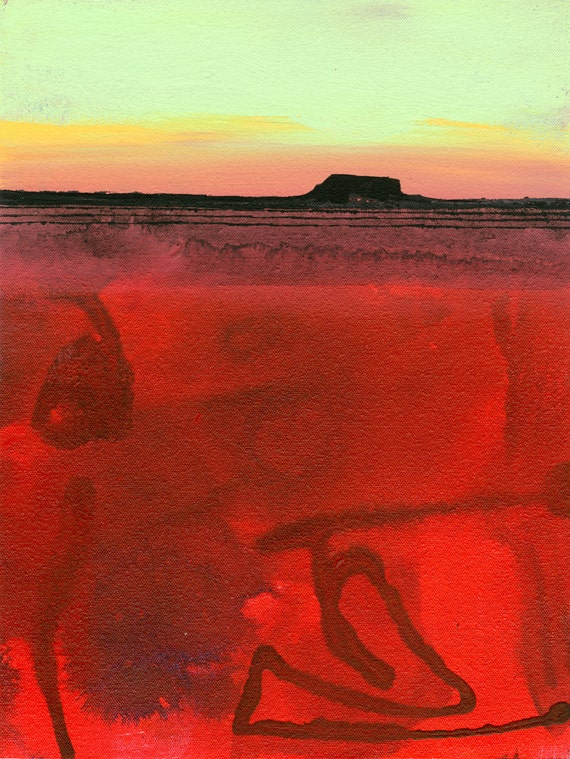 """Abstract Landscape painting, Southwestern Original Art, Red, Desert, """"MESA 12"""" by Kathy Morton Stanion EBSQ"""