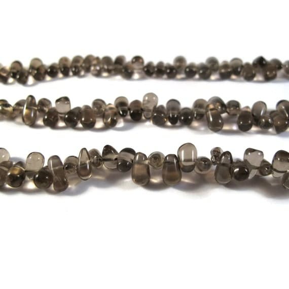 Natural Smoky Quartz Briolette Beads, Smooth & Polished Gemstone Beads, Jewelry Supplies, 6.5 Inch Strand (S-Sq5)