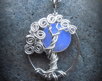 Glowing Sea Opal Tree of Life Sterling Silver, fairytale garden