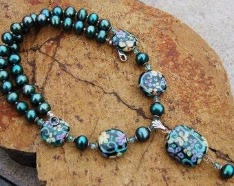 Fairy Frolic SS Necklace - K O Lampwork Beads