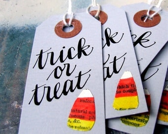 "Halloween Hang Tags, Six Hand Lettered ""trick or treat"" Gift Tags, Candy Corn & Calligraphy, Halloween Party Decor"