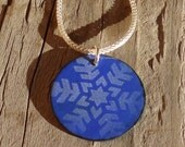 Handmade Copper Enamel Snowflake Necklace, Copper Enamel Circle, Enamel on Copper Snowflake Star Pattern Necklace, Soft White on Bright Blue