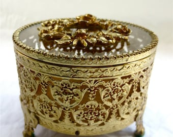 Floral Wreathed Glass Lid Ormolu Box -  Footed Round -  French Gilt Casket -  Velvet Lined Vanity Jewelry Trinket Box