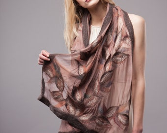 Nuno felted scarf - Brown style mix - Handmade Silk and wool - Special Occasion