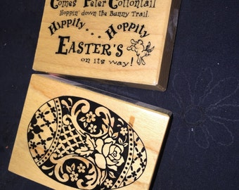Faberge Easter Egg and Peter Cottontail Rubber Stamps