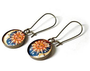 Celestial Sun and Moon Earrings, Lunar, Dangle Earrings, Handmade, Resin Jewelry, Sun Earrings, Resin Earrings, Moon Jewelry, Handmade