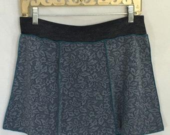 XL Dance Yoga coverup mini skirt - UPCYCLED MINI Skirt- one of a kind, panel skirt, festival clothing, dance, beach coverup