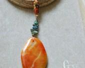 Orange agate gemstone artisan beaded long necklace trbal boho jewelry. Tiedupmemories