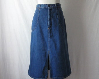 70s Jean Skirt Denim Midi Skirt Vintage 1970s Blue Jean Skirt