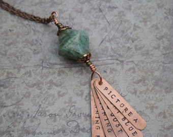 Throwing Stones Grateful Dead hand-stamped copper song lyrics pendant hangar