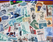 50 Unused Vintage 5c US Postage stamps from the 1960s .. Grab bag of Fifty different stamps. Penpals, Scrapbooks, letter writing and mailing