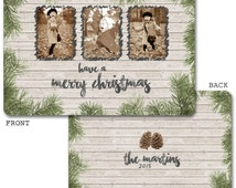 Rustic Chic Photo Christmas Card - Custom - Wood Pine Holiday Card -Merry Christmas -Framed Scribble Picture -Wood Grain -Download / Printed