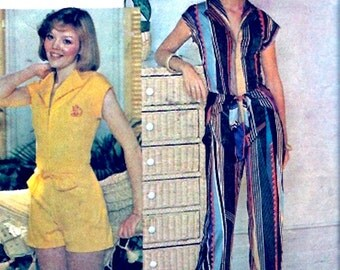 Summer jumpsuit playsuit retro 70s disco style vintage sewing pattern Size 10 to 12 McCalls 5122 UNCUT