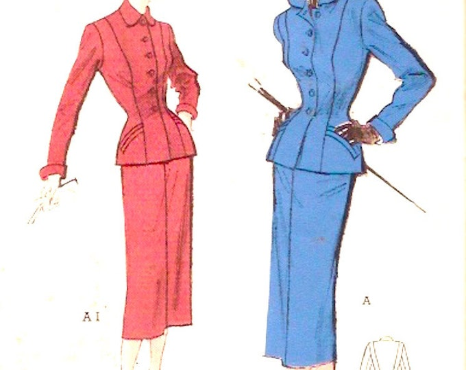 1950s Era Glamorous womens suit Vintage sewing pattern Butterick 5500 Jacket five gore slim skirt UNCUT Bust 30