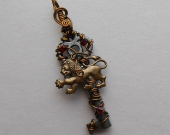 Lion Key Pendant -- Brass Lion, Red Crystals, Antique Key, Harry Potter, Gryffindor House Pendant