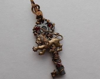 Lion Key Pendant -- Brass Lion, Red Crystals, Antique Key, Harry Potter, Gryffindor House Pendant