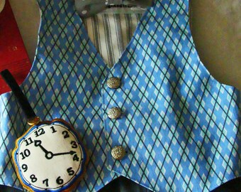 Boys White Rabbit Vest & Watch BLUES  Alice in Wonderland Party Baby or Toddler Costume