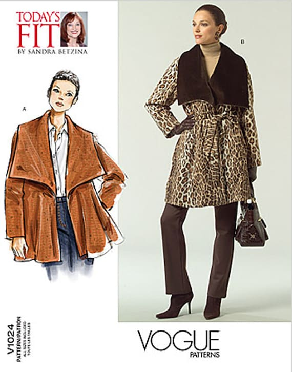 OOP Sandra Betzina Day Evening Coat Jacket Oversized Collar Vogue 1024 Sewing Pattern Bust 32-55 UNCUT