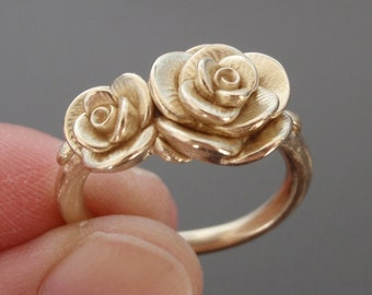 Solid 14K, Double-Rose Ring (Size 9.5) | Handsculpted, Cast Ring in 14K Yellow Gold | Mother's Ring | Engagement | Wedding