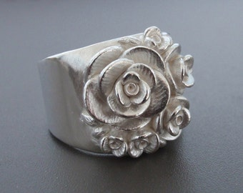 Size 9, Bouquet of Roses, Wide-Band Ring | Handsculpted, Cast, Sterling Silver Ring