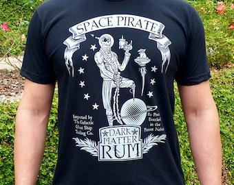 Pirate Shirt, Mens Graphic Tee, Space Pirate Rum Men's Tshirt, Funny Tshirt, Skull Shirt, Dad Gift, Boyfriend Tshirt, Pirate Gifts