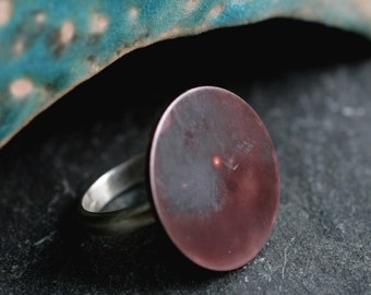 copper circle ring big copper ring oversized cocktail ring large circle ring oxidized rustic copper ring boho ring PLANET RING- size 7.25