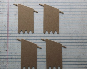4  Bare Chipboard small regal Banner diecuts  2 1/2 inches w x 3 inches tall