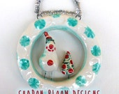 Christmas Snowman Ceramic Hanging Sculpture One of a Kind from Sharon Bloom Designs