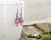 Fairy Petals // Pink Rosebud Sterling Silver and Pink roses in Lampwork Glass, silversmith, welded, by BellaLili