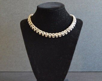 Vintage Clear Rhinestone Necklace {Bridal Jewelry White Diamante Collar Crystal 1960's 60's 1960s Round Cut FREE SHIPPING}