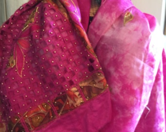 PINK (the Navy Blue of India) Tie Dye SARI w/ cutwork, gold beads,embroidery 8 YDS