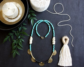 Turquoise Coin Necklace, Long Beaded Necklace, Single Strand Necklace, Glass Bead Jewelry, Brass Faceted Beads, Wood Beads, Boho Jewelry