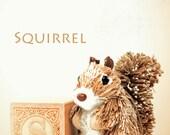 squirrel photo, letter photo, nursery art, nursery decor, childs room decor, child room art, letter art, alphabet photo, alphabet art