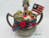 Patriotic Fairy House 4th of July Vintage inspired BETSY ROSS decoration Pewter sugar bowl