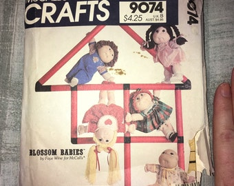 Uncut McCall's Crafts 1984 Vintage Pattern No. 9074 - Blossom Babies and Clothes