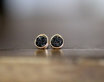 Small Druzy Studs , Tiny Black Post Earrings in Gold Rose Sterling Silver Everyday Studs , Teen Gift Ideas  - Micros ( Eclipse )