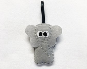 Elephant Ornament, Christmas Ornament, Eleanor the Elephant, Felt Animal, Zoo Animal, Holiday Decoration
