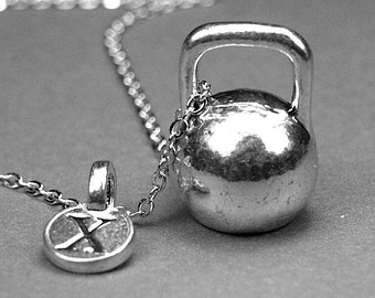 Kettlebell necklace, kettle bell charm, kettle bell pendant, workout necklace, crossfit necklace, personalized, initial necklace, monogram