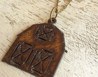 """READY TO SHIP Aged Metal Barn Pendant on 30"""" Antique Brass Chain Necklace"""