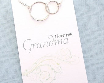 Gifts for Grandma | Eternity Circle Necklace | Interlocking Circle Necklace | Karma Necklace | Mother's Day Gift | Sterling Silver | M05
