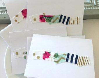 fabric scrap stitched notecard set, fabric scrap sewn stationary, blank notecard set, chevron , floral, striped, urban, mod, boho notecards