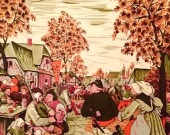 Bruegel Fabric Panel, Painting Peasant Wedding Dance Renaissance Art Vintage
