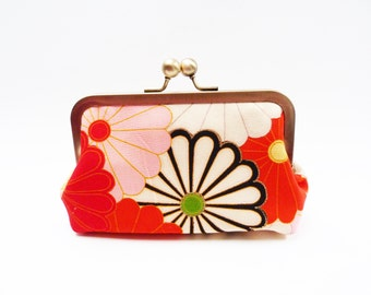 Clutch bag, multi colour vintage kimono fabric evening purse