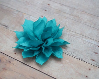 NEW Turquoise Mini Flower Hair Clip- Lotus Blossom - With or Without Rhinestone Center