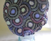 Retro Shower Cap - Purple Blue Mint Green Floral Blooms Abstract - Rockabilly Bath and Beauty Hat