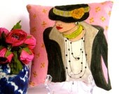 new..GABRIELLE FASHION PILLOW, hand painted pillow, decorative pillow, Paris, French fashion, Chanel, soft pink, fashionista, woman gift