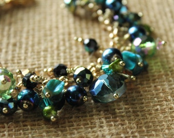 Beaded bracelet, charm bracelet, blue, green,gold tone, handmade, ocean, original design, FREE SHIPPING