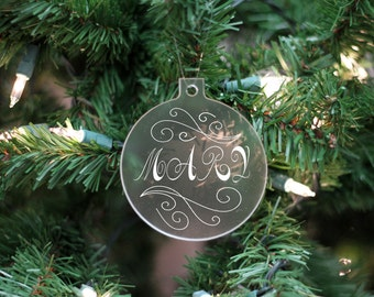 Custom Name Ornament, First Name Ornament, Personalized Ornament, Frosted White Name Ornament --24104-OR05-500